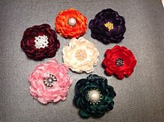 Hand cinged satin flower clip 2-2.5 wide by SophiesBowtiqueSI