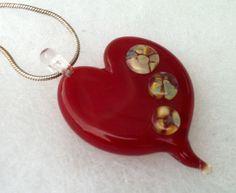 Lampwork Glass Pendant  Red Heart Focal  Art by TurtleBeadsStudio, $47.00
