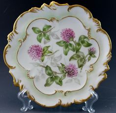 C1900 A. Lanternier Limoges Porcelain Cabinet Plate w/ Clover Flowers No Reserve #ALanternier