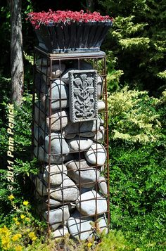 Easy Garden Projects with Stones ~ Gabions - A gabion is a box or container made of wire mesh or fencing, and filled with a material for stability. In this case, wire mesh is. Outdoor Projects, Garden Projects, Outdoor Decor, Gabion Wall, Gardening Gloves, Easy Garden, Garden Bed, Garden Structures, Stone Art