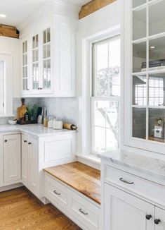 Built-in Window Seat with cabinetry on either side to make up for loss of cabinets on the wall above sink. (Putting windows in there instead). Love the window seat under low window to keep cabinets going White Farmhouse Kitchens, Farmhouse Kitchen Cabinets, Kitchen Cabinet Design, Country Kitchen, New Kitchen, Home Kitchens, Kitchen Decor, Kitchen White, Kitchen Island