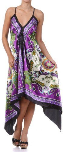 Butterfly Paisley Design Silk Feel Handkerchief Hem Criss Cross Back Adjustable Maxi / Long Dress