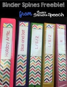 Organize your speech files with FREE binder spines - I need these for all my speech therapy stuff. SAVING this!!
