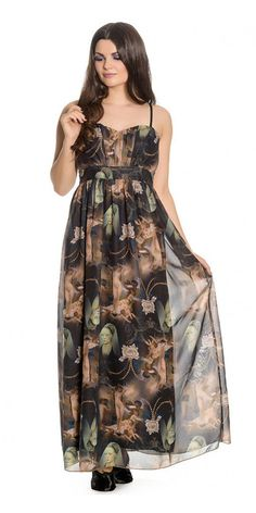Be a classic beauty in this Renaissance Maxi Dress. This long sheer chiffon maxi dress has thin straps, sweetheart neckline and loose flowing A-line skirt, you'll find a long black slip sewn into the underneath of the dress. It has an all over repeat print of classic Renaissance art and damask detailing. Grab a pair of black heels and you're ready for the gallery or wherever else you might want to go.