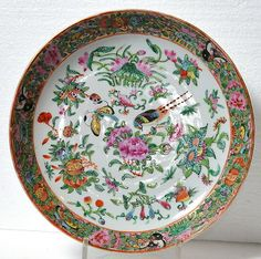 1800 S Antique Chinese Famille Rose Canton Porcelain Plate Dish Charger