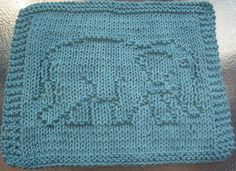 knitted elephant dishcloth pattern | DigKnitty Designs: Elephant Knit Dishcloth Pattern