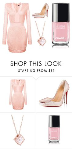 """""""Sans titre #10366"""" by yldr-merve ❤ liked on Polyvore featuring Balmain, Christian Louboutin, Karen Millen and Chanel"""