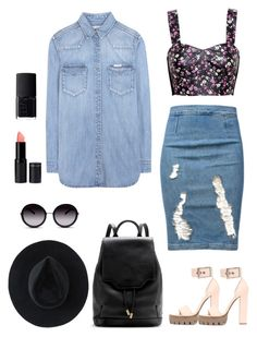 """""""Denim"""" by solespejismo ❤ liked on Polyvore featuring Frame Denim, Alexander McQueen, Love Leather, Calvin Klein Jeans, rag & bone, Ryan Roche, GlassesUSA and NARS Cosmetics"""