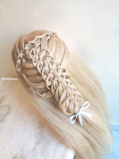 Braided waterfall into four strand loop braid