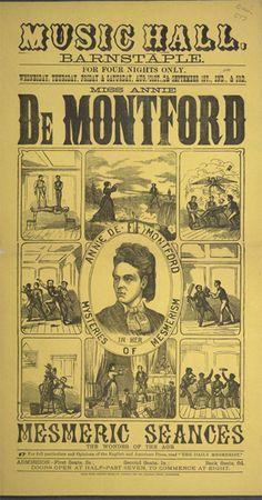 Music Hall, Barnstaple. Miss Annie De Montford's Mesmeric Seances, 1881.