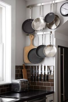 knive, pot racks, wall spaces, small kitchens, subway tiles, storage ideas, design, kitchen walls, hanging pots