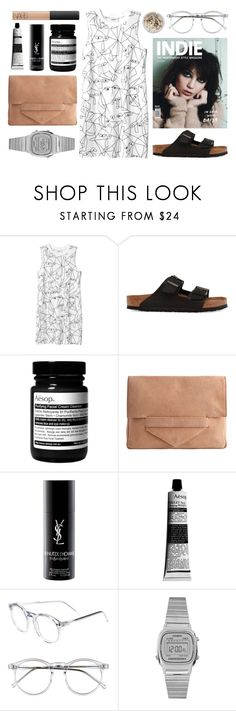 """""""one hundred and eighty-one"""" by lunar-wolf ❤ liked on Polyvore featuring Monki, Birkenstock, INDIE HAIR, Aesop, Pieces, Yves Saint Laurent, Wildfox, Casio, Ash and NARS Cosmetics"""
