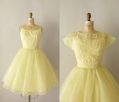 Vintage 1950s Formal Dress  Pale Yellow Wedding by Sweetbeefinds, $228.00
