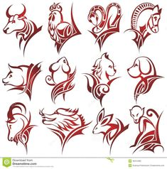 Chinese Boar Tattoo chinese zodiac signs stock vector - image ...
