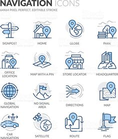 Buy Line Navigation Icons by davooda on GraphicRiver. Simple Set of Navigation Related Color Vector Line Icons. Contains such Icons as Store Locator, Office, Home and more. Free Vector Images, Vector Free, Water Icon, Communication Icon, Science Icons, Network Icon, Time Icon, Mind Maps, Travel