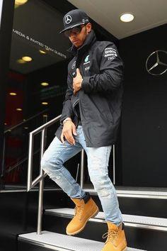 Lewis Hamilton wearing Timberland Classic 6 Premium Boot