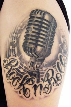 What does microphone tattoo mean? We have microphone tattoo ideas, designs, symbolism and we explain the meaning behind the tattoo. Up Tattoos, Music Tattoos, Star Tattoos, Sleeve Tattoos, Tattoos For Guys, Tatoos, Arm Tattoo, Trommel Tattoo, Tatouage Rock And Roll