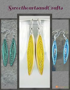 Long Yellow Paper Quilling Earrings - paper quilling jewelry, paper quilled…