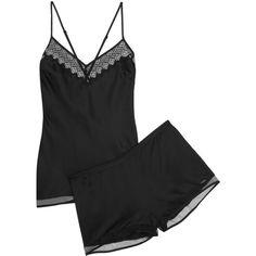 Calvin Klein Underwear Crepe de chine mesh-trimmed pajama set ($42) ❤ liked on Polyvore featuring intimates, sleepwear, pajamas and black