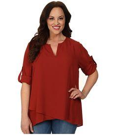 Karen Kane Plus Size Fashion Chili Pepper Plus Size Asymmetrical Hem Wrap Top available from Zappos #karenkane #chili #pepper #asymetrical #hem #top #plus_size_fashion #zappos