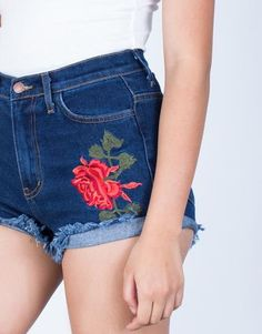 Detail of Rosey Patched Denim Shorts