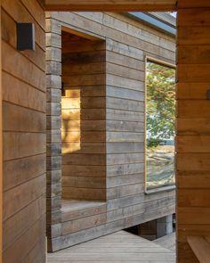 Sunhouse modern prefab homes. Modern Log Cabins, Modern Prefab Homes, Outdoor Sauna, Outdoor Decor, Scandi Home, Weekend House, Interior Architecture, Building A House, Beach House