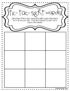 FREE-tic-tac-sight words game - Kindergarten Teaching Ideas - Need a little help with sight words? Try this fun game! Your students will be sight word masters i - Teaching Sight Words, Sight Word Practice, Sight Word Games, Sight Word Activities, Kindergarten Reading, Teaching Reading, Teaching Tips, Kindergarten Phonics, Student Reading