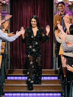 Superstar: Vanessa Hudgens, 30, was every inch a star in a stellar jumpsuit as she debuted her new waist-length mane on Thursday's The Late Late Show