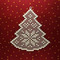 Filet Christmas tree Fsl lace Embroidery design FSL Christmas