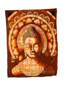 Lienzo decorativo con motivos budistas confeccionado en tela de hilo de algodón 100 %. Pintado a mano. Medidas: 56 x 43 cm.   - La Taza Solidaria