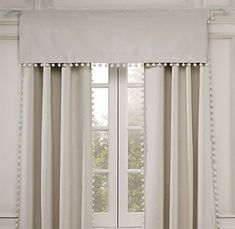 When you add window treatments to it will transform that room. When you add details to a window treatment whether you are creating custom drapes or embellishing some ready made ones it totally ele… Drapery Panels, Curtains With Blinds, Valances, White Curtains, Fringe Curtains, Cornices, Neutral Curtains, Cotton Curtains, Lined Curtains