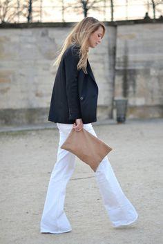 blazer & long white trouser