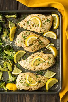 Quick and easy sheet pan chicken dinner with easy clean up! Flavorful lemon chicken is paired with perfectly roasted broccoli for a simple delicious meal!