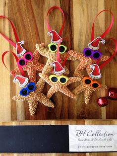 Starfish Santa Ornament - Authentic Starfish - Beach Christmas on Etsy Nautical Christmas, Summer Christmas, Tropical Christmas, All Things Christmas, Christmas Wreaths, Christmas Crafts, Christmas Decorations, Christmas Florida, Christmas Ideas