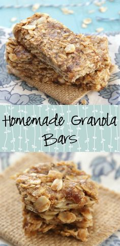 Homemade Granola Bars - No-bake and made with just a few ingredients like oats, dates, and almonds! No butter or added sugar needed for this recipe!