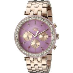 Juicy Couture Analog Display Quartz Rose Gold Watch ($248) ❤ liked on Polyvore featuring jewelry, watches, water resistant watches, quartz wrist watch, juicy couture, rose gold jewellery and pink gold watches