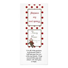 25 Lollipop Topper Red Sock Monkey Rack Cards