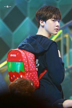 Sanha + strawberry bag= my kind of concept K Pop, Astro Fandom Name, Park Chanyeol Exo, Pre Debut, Blue Flames, Sanha, Kpop Fanart, Minhyuk, Beautiful Boys