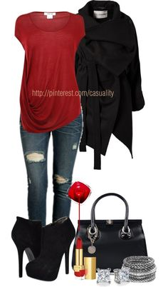 """""""Sexy Red & Black Ankle Boots"""" by casuality on Polyvore"""