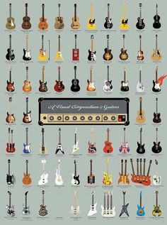 Get obsessed with this catalog of 64 famed guitars collected from over 75 years of rock 'n' roll history. With illustrated representations of legendary instruments from artists like Fleetwood Mac, Prince and The Red Hot Chili Pepper Guitar Art, Music Guitar, Cool Guitar, Guitar Chords, Guitar Tattoo, Acoustic Guitar, Ukulele, Guitar Shop, Playing Guitar
