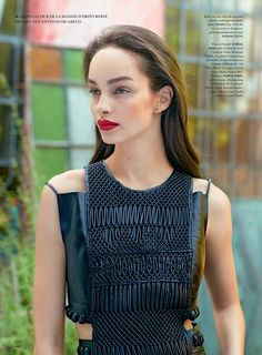 Model Luma Grothe looks sleek in a Fendi SS16 leather dress for the latest Air France Madame issue.