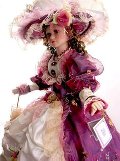 "PORCELAIN UMBRELLA DOLL 38"" TALL VICTORIAN STYLE PURPLE DRESS"