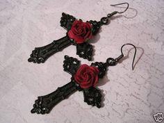 *LARGE JET BLACK CROSS RED ROSE* Gothic Earrings Dita Halloween Rockabilly #LittleTreenketShop