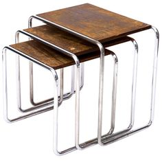Original Marcel Breuer B9 Nesting Tables   From a unique collection of antique and modern nesting tables and stacking tables at https://www.1stdibs.com/furniture/tables/nesting-tables-stacking-tables/