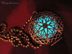 Aqua Glow in the Dark Antiqued Brass Filigree by MoniqueLula, $23.00
