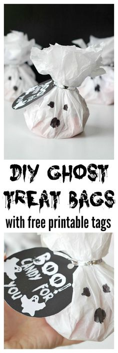 DIY Ghost Treat Bags with free printable tags! These tissue paper treat bags are simple to make and stuff with different goodies!