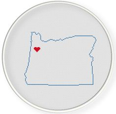 Instant download,Cross stitch pattern, Crossstitch PDF,wedding gift, pillow pattern,love oregon  state,USA map ,2 pattern in 1 PDF by danceneedle on Etsy
