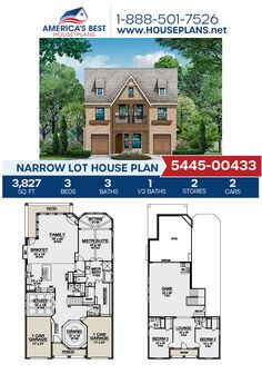 A 2-story Narrow Lot house, Plan 5445-00433 delivers 3,827 sq. ft., 3 bedrooms, 3.5 bathrooms, a breakfast nook, a kitchen island, an open floor plan, a stacked porch, a media room, a sitting room, and a study. #narrowlot #architecture #houseplans #housedesign #homedesign #homedesigns #architecturalplans #newconstruction #floorplans #dreamhome #dreamhouseplans #abhouseplans #besthouseplans #newhome #newhouse #homesweethome #buildingahome #buildahome #residentialplans #residentialhome House Plans 2 Story, Three Story House, Narrow Lot House Plans, Best House Plans, Dream House Plans, House Floor Plans, European Plan, 4 Bedroom House Plans, Floor Plan Layout