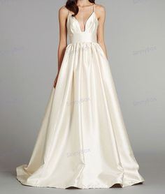 A line Spaghetti Strap Wedding Dress / Bridal Dress / Satin Wedding Gown/ Custom Wedding Dresses on Etsy, £135.01
