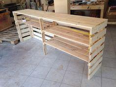 Barra de madera reciclada ideal para negocio. Diseño y fabricado por @Sheri Henshall Taller en #Cholula #Puebla